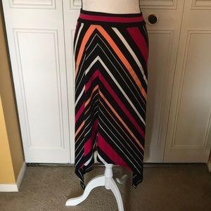 Faded glory asymmetrical skirt 3x stripes